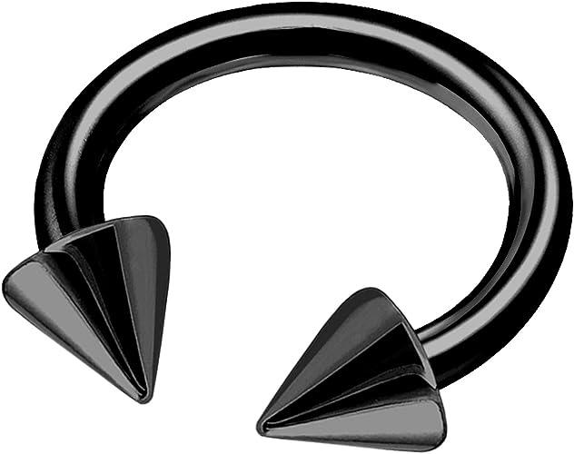Titanium anodized eyebrow ring with cones 16 ga