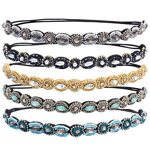 Beaded Elastic - Hapdoo 5 Pack Rhinestone Beaded Elastic Headband Handmade Hair Bands Woman Hair Accessories, 5 Pieces