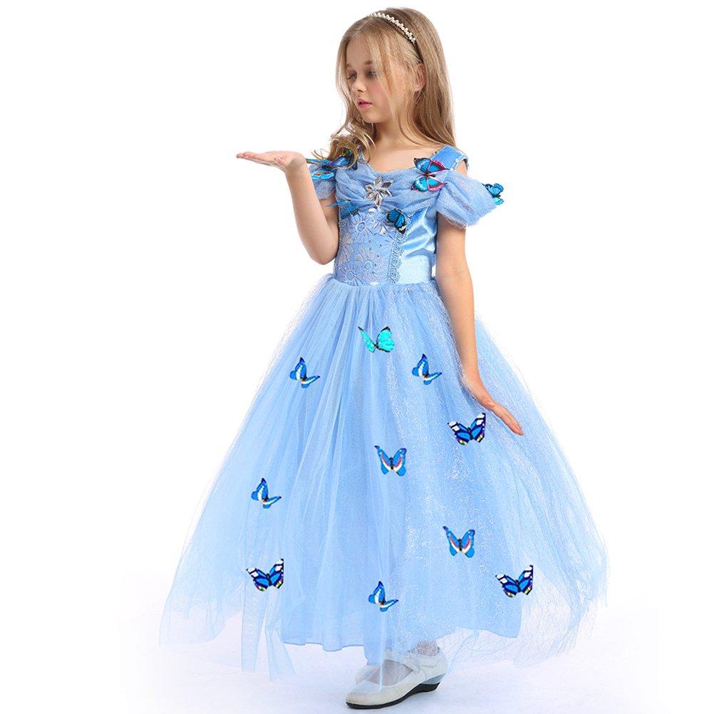 URAQT Traje del Vestido/Traje de Princesa Azul con Mariposas Vestido Infantil Disfraz de Princesa de Niñas para Fiesta Carnaval Cumpleaños Cosplay Halloween product image