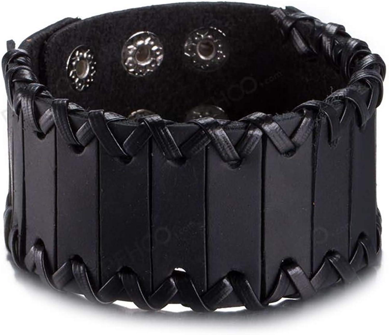 Daesar Leather Bracelet Womens Mens Leather Wide Charm Bracelets Black