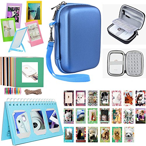 - Katia Printer Accessories Bundle set for HP Sprocket Portable Photo Printer, X7N07A, Print Social Media Photos on 2x3 Sticky with Hard Shell Case, Calendar Album, Frames, 2x3 Stickers - Blue