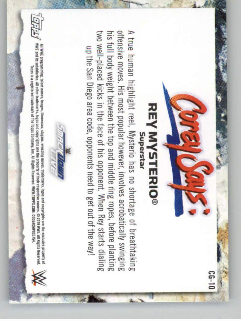 2019 Topps WWE Smackdown Live Corey Says #CG-10 Rey Mysterio Wrestling Trading Card