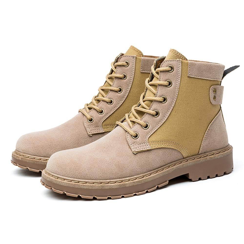 MUMUWU Mens Fashion Ankle Work Boot Casual Individual Stitching Unique Heel High Top Boot Winter