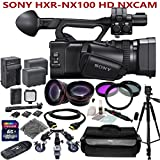 Sony HXR-NX100 w/ Studio Production Kit: Includes 72'' Sturdy Aluminum Tripod w/ Pro Series Wheeled Dolly + Wide Angle & Telephoto Lenses, LED Video Light, 2 NP-F970 Replacement Batteries & more...