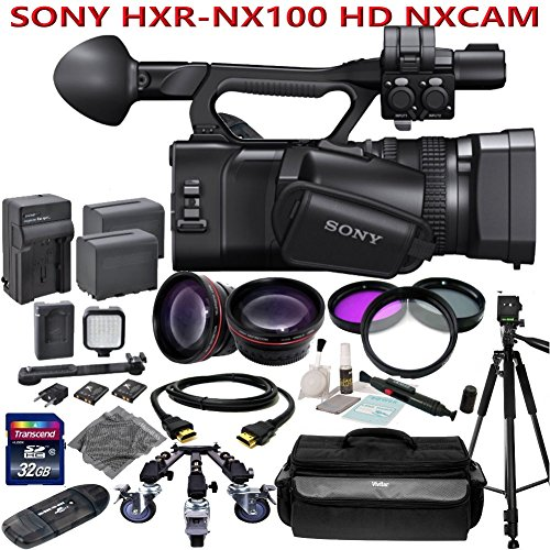 Sony HXR-NX100 w/ Studio Production Kit: Includes 72 Sturdy Aluminum Tripod w/ Pro Series Wheeled Dolly + Wide Angle & Telephoto Lenses, LED Video Light, 2 NP-F970 Replacement Batteries & more...