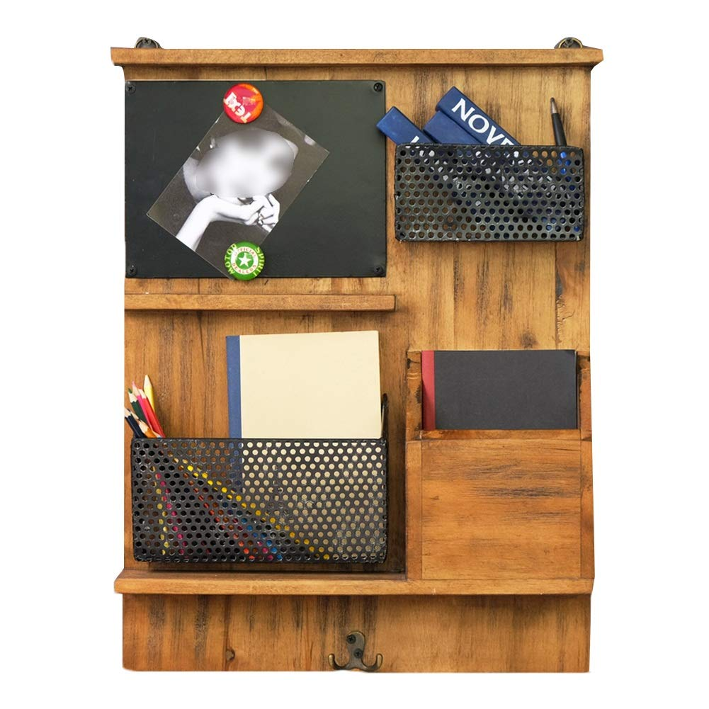 LIANGJUN Message Board Chalkboards Retro Simple Magnetic Iron Art Solid Wood Storage Living Room Coffee Shop (Color : A, Size : 45x9x58cm)