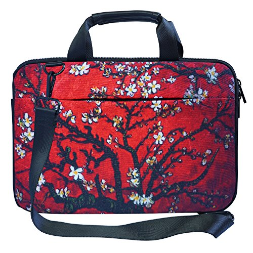 Meffort Inc 12 12.9 inch Canvas Laptop Shoulder & Hand Carrying Bag Case with Side Protection - Vincent van Gogh Cherry Blossom