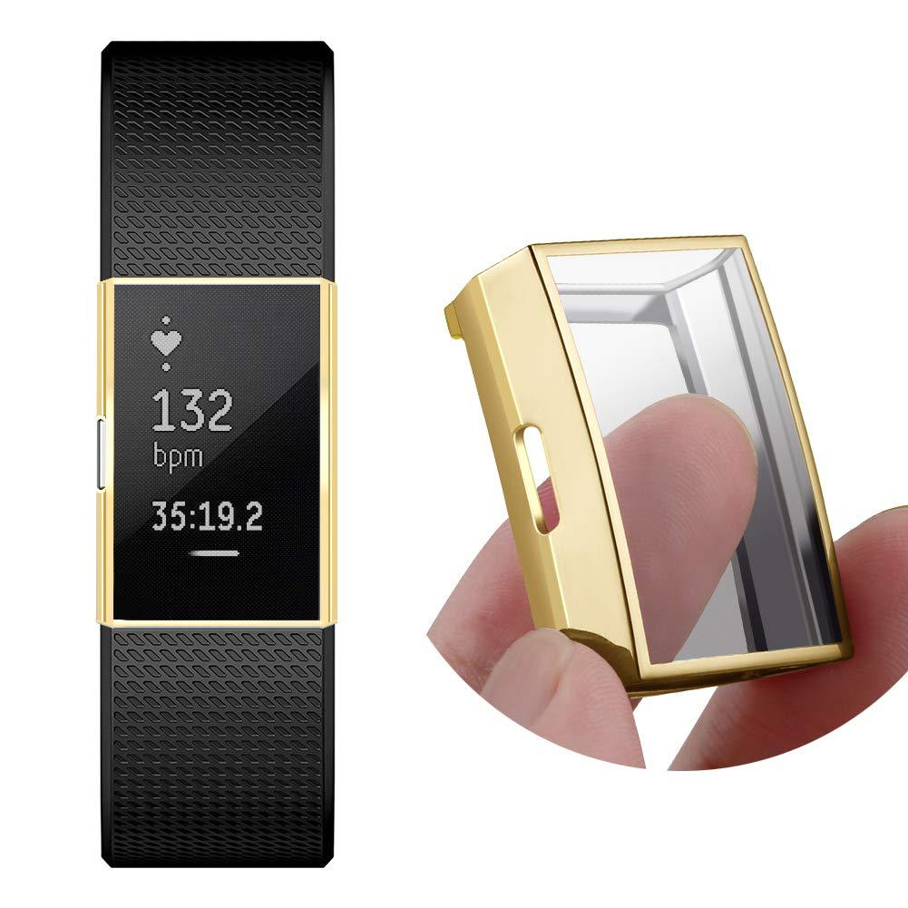 Protecteur d/écran Compatible Fitbit Charge 2 Kmasic Ultra Slim Housse de Protection compl/ète pour Fitbit Charge 2 Or