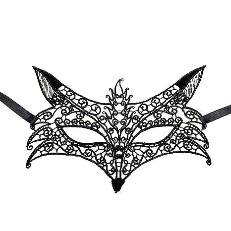 Hosaire 1x Máscara de Encaje Forma de Cabeza de Lobo,Mujeres Antifaz para Mascarada Veneciano