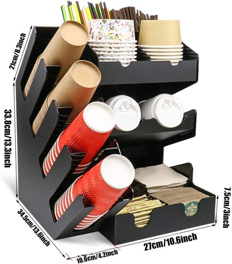 servilleta de Almacenamiento caf/é condimentos Copa etc TONGSH 2 Piezas Combo caf/é condimento Organizador y 4 Columna y sujeci/ón de Vasos Tapa