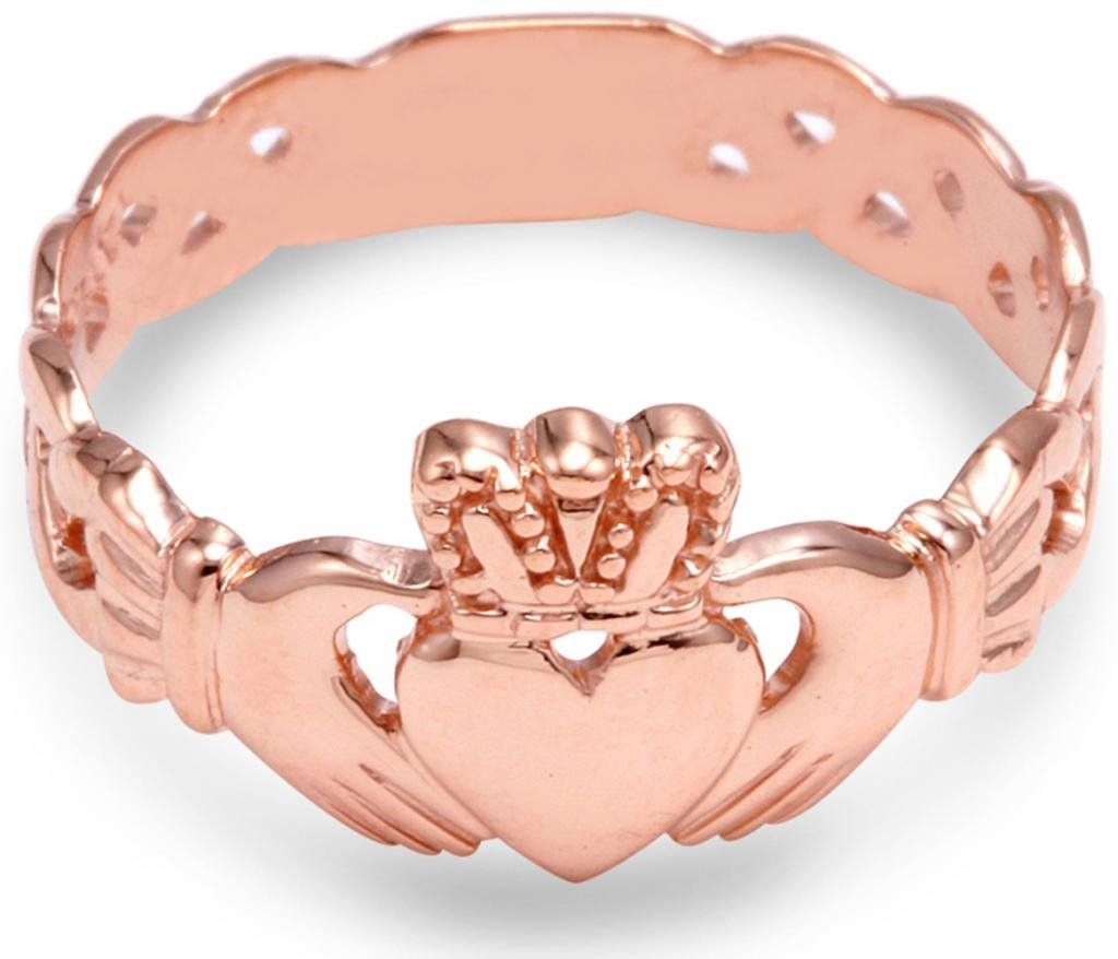 14K Rose Gold Ladies Claddagh Ring with Trinity Band (7.5)