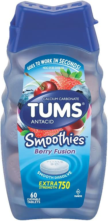 TUMS Smoothies Berry XStrength Antacid Chews, 60Ct