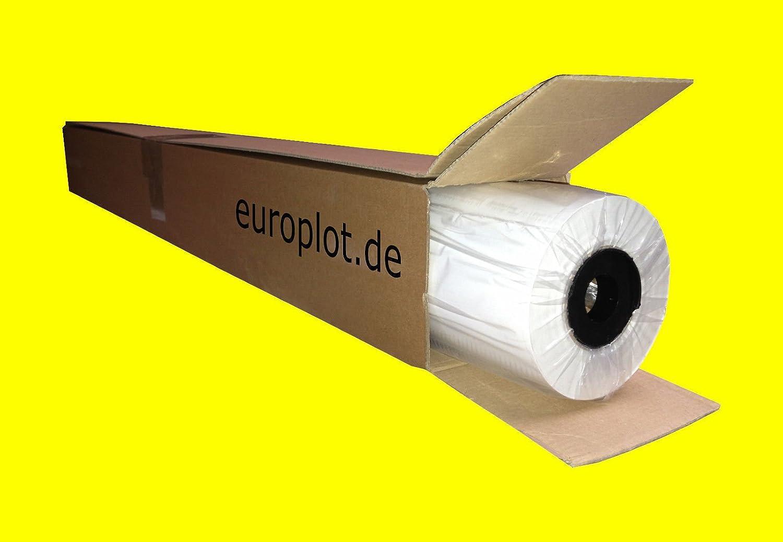 (0,32€/m²) Plotterpapier 1 Rolle | 80g/m², 91,4cm (914mm) breit, 50m lang, CAD, A0 unbeschichtet Europlot