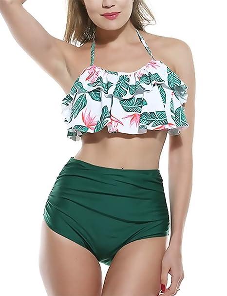 Bikini Mujer 2019 Verano Cintura Alta Tankinis Mujer Vintage Traje de Baño Mujer Push Up, Sexy Ropa de Baño Mujer Acolchado Bra (Verde, M)