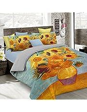 Italian Bed Linen Parure Copripiumino con Stampa Digitale a Copertura Totale sul Sacco e sulle Federe 2 Posti 100% Cotone, Multicolore, 250x200x1 cm