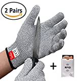 Cut Resistant Gloves 2 PAIRS Pack, EN388 Level 5 Cut Proof Gloves, Food Grade Kitchen Gloves, For Kitchen, Repair, Outdoor and Yard work Hand Protection (Large)