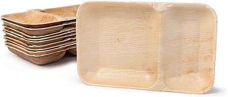 25 Teller aus Palmblatt pure 6-eckig 23,5 x 3 cm Einwegteller Einweggeschirr