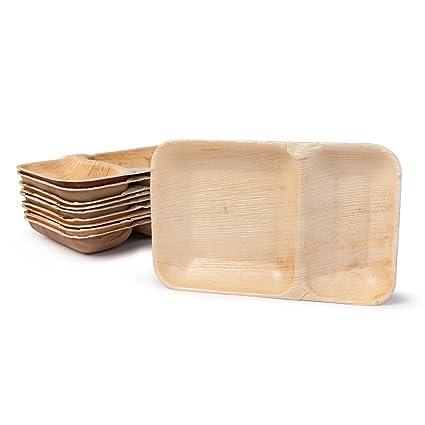 BIOZOYG Platos de Hojas de Palma I Plato de menú desechable de 25 Piezas Hecha de