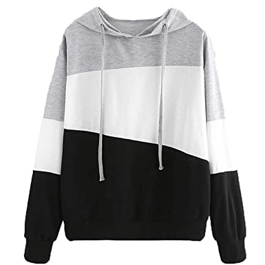 Lananas-Women Hoodies Long Sleeve Grey White Black Color Patchwork Sweatshirts Tops Blouse