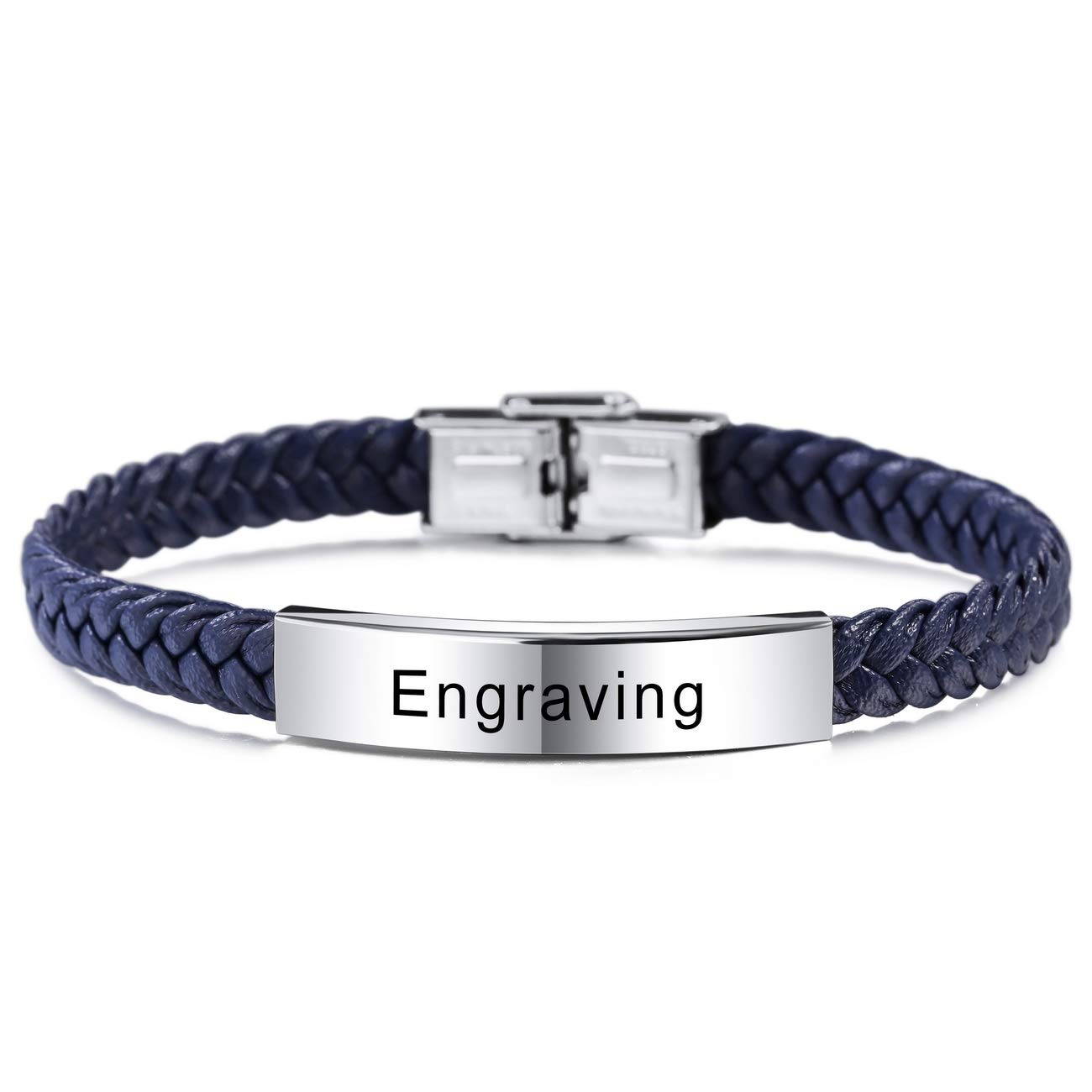 6 Colors MeMeDIY Name Bracelet Personalized Bracelets for Women Customized Bracelets for Boys Men Girls Stainless Steel Genuine Leather Engraving Braided Cuff Adjustable