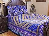 NovaHaat Indian Inspired Blue, Navy Blue and Iris 100% Handmade 7 PC Sari Shimmering King / Queen (108'' x 92'') Quilted Bedspread Set with exquisite Bead & Sequin work - Use it as a DUVET too - a Full