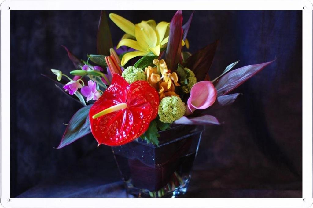 Flower-Tin-Sign-Anthurium-Calla-Lily-Flowers-Bouquets-Composition-Vase-37622-by-Wallers-Decor-78×118