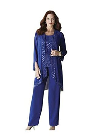 Kelaixiang Blue Chiffon With Sequins Mother Pant Suits 3 Pieces At