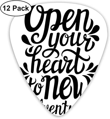 Guitar Picks 12-Pack,Open Your Heart New Adventures Quote ...