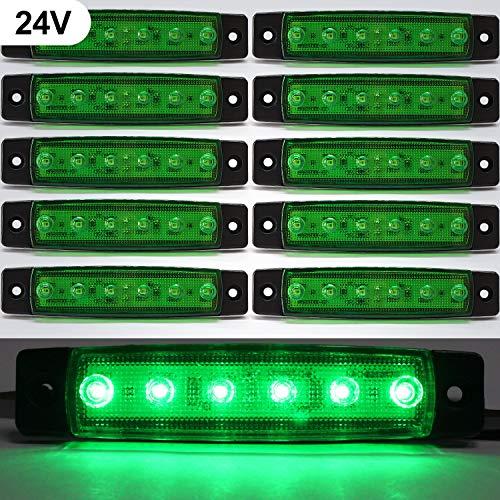 """3.8""""Side Marker Indicators light,24V Green LED Side Marker Lights Lamp,Trailer marker lights for Back Up Rear Trailer Pickup Van ATV Lorries Ambulance side Trucks Cab,RV Truck,Bus cab Camper(10 Pcs)"""
