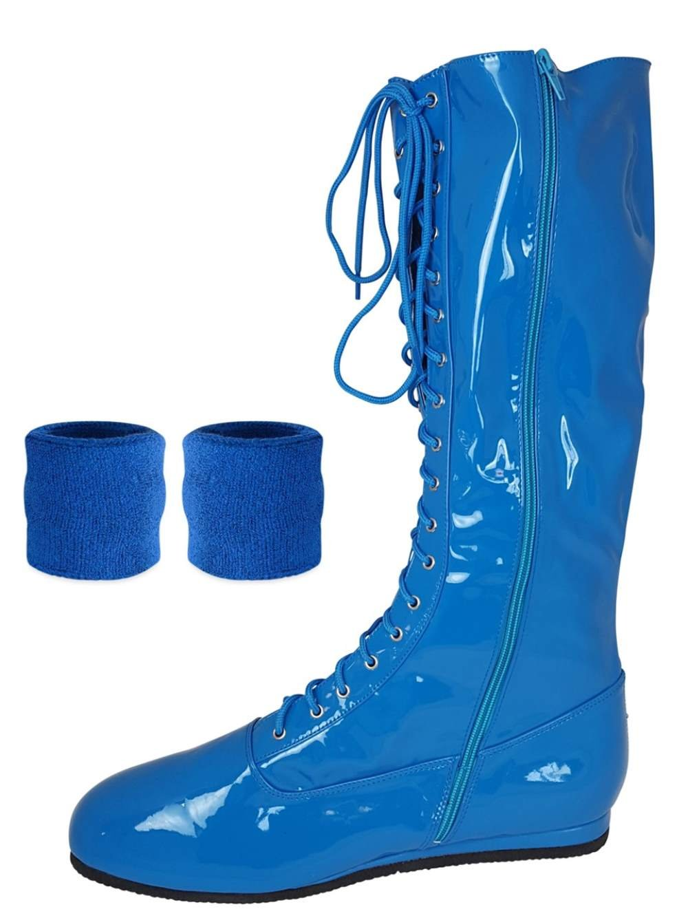 (Blue, Medium) Pro Wrestling Costume Boots with Matching Sweatbands