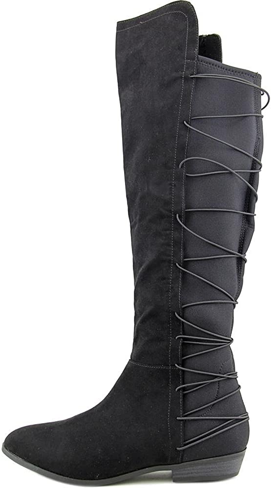 Size 7.5 Black Material Girl Womens Cayln Fabric Closed Toe Knee High Fashion