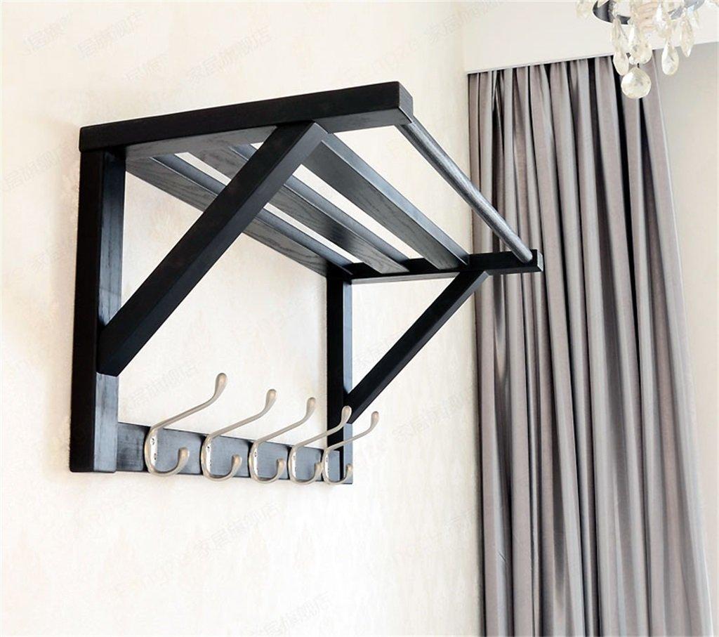 LQQGXLModern minimalist coat rack, Retro wooden racks wall hanger Creative bedroom hanger hooks ( Color : Black )