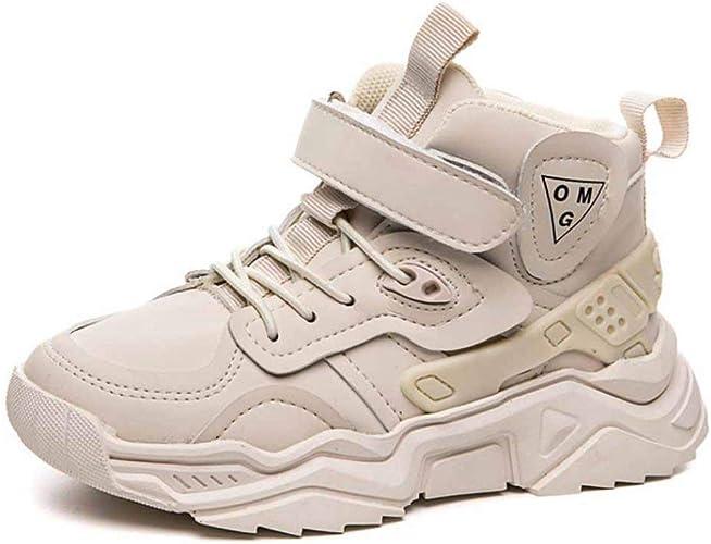 Feidaeu Baskets Montantes pour Enfants Automne et Hiver Cuir Confortable Chaussures de Sport /à Fond Plat antid/érapantes et r/ésistantes /à lusure Chaussures de Sport /étudiantes pour Enfants