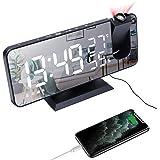 Despertador de projeção, LED Despertador digital Rede elétrica de cabeceira alimentada com função de rádio FM, porta de carre