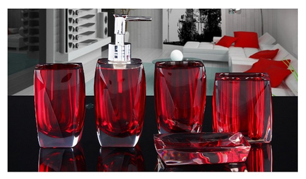 Pink Bellabrunnen 5-teiliges Design Badset Acryl Kristall Look Seifenspender WC Badezimmer Set