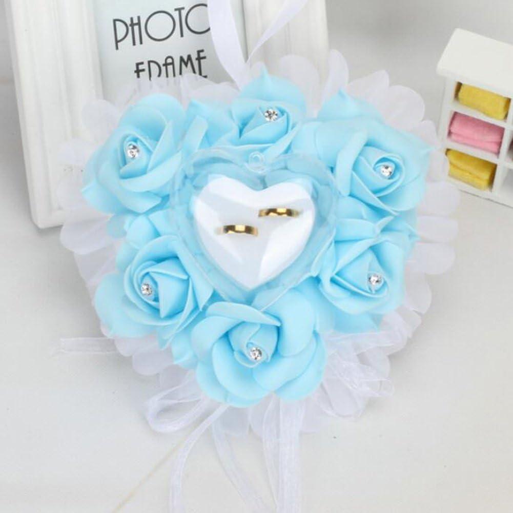 18 18cm Bleu bpblgf Coeur Romantique en Forme de Coussin de Rose Alliance Bo/îte de Bague de Mousse 1