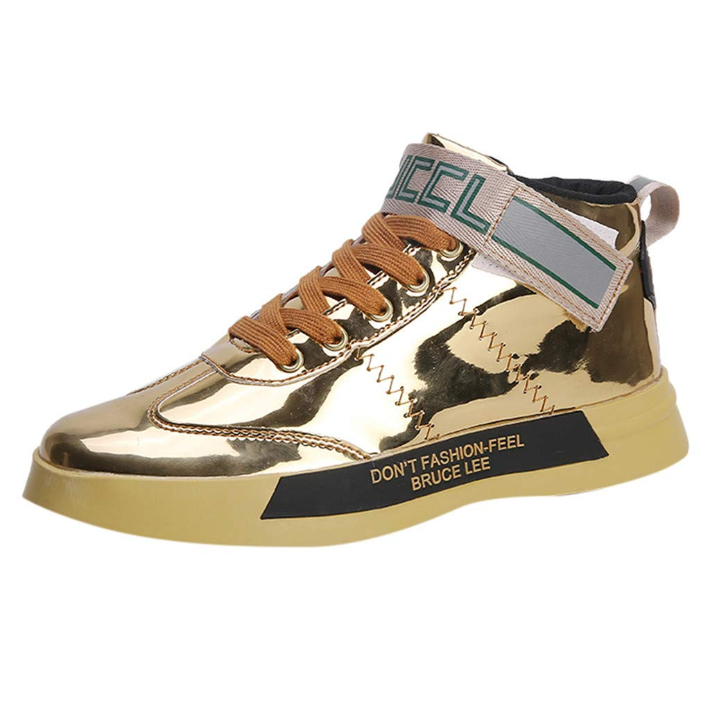 Fheaven Men's Trend Sequins Mirror Sneakers Nightclubs High-Top Casual Shoes Gold by Fheaven-shoes
