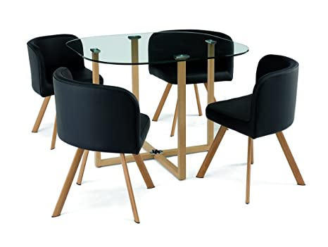 Deco In Paris Conjunto Mesa + 4 sillas encastrable Negro Flen ...