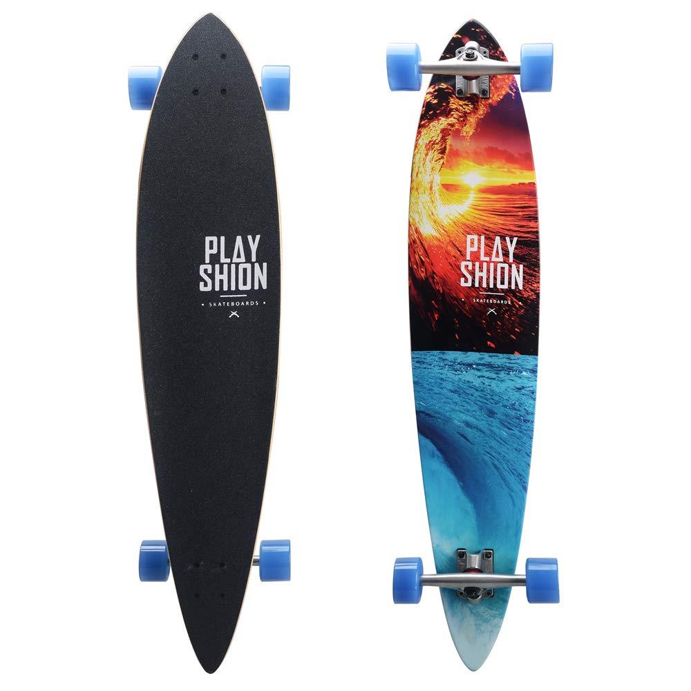 メープルロングボード四輪スケートボード - ブラシストリートトラベルスケートボードビッグフィッシュボード9層フリースライドロングスケートボード子供向け大人用  A