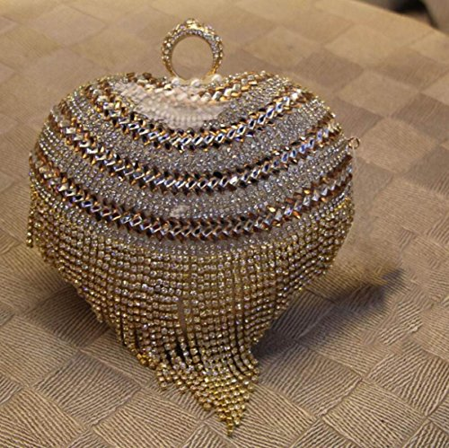 Bolso De Noche De Cuero De Imitación De Gama Alta Bolso De Embrague Bolso Bordado En Forma De Corazón De Perlas De Diamantes Bolso De Novia Bolso Gold