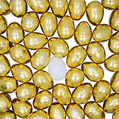 BestPysanky Set of 47 Golden Plastic Eggs + 1 White Easter Egg ()