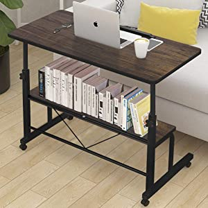 Height Adjustable Computer Desk Cart Mobile Writing Table Sturdy Tilting Laptop Desk Sit-Stand Overbed Table Sofa Couch Side Table with Lockable Wheels Storage Shelf for Home Office Workstation
