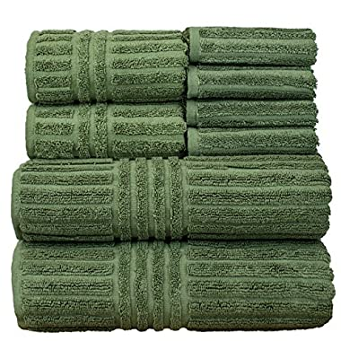 Bare Cotton 8 Piece Luxury Hotel & Spa Towel 100% Turkish Cotton Striped Set, Set of 8, Moss, 8