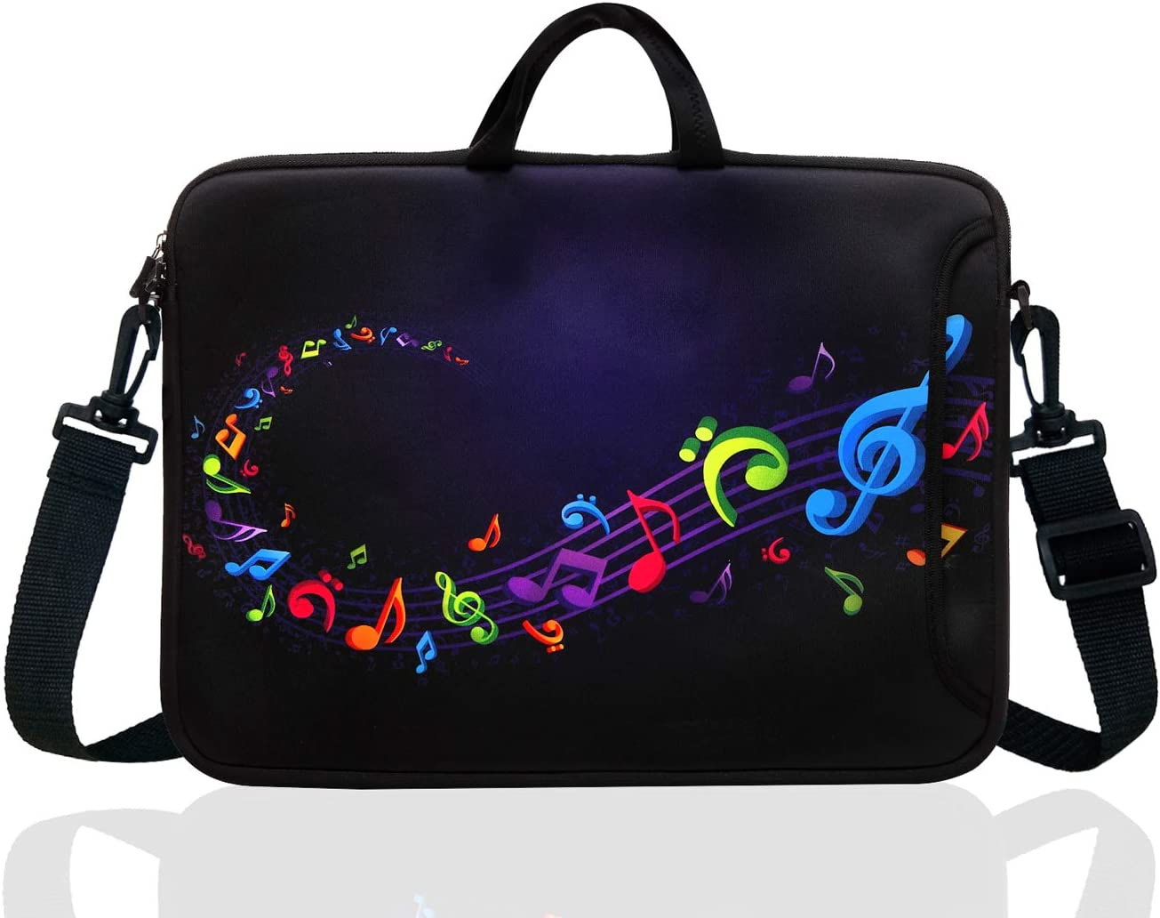 "15-Inch to 15.6-Inch Neoprene Laptop Shoulder Messenger Bag Case Sleeve For 14 14.1 15 15.6"" Inch Acer/Asus/Dell/Lenovo/Thinkpad/HP/Macbook Pro/Air (Musical Note)"