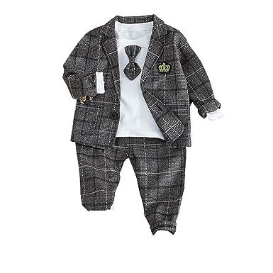 13b4644c2 JIANLANPTT Baby Boys Korean Style Plaid Design Blazer and Pant with White  Shirt Long Sleeve Clothing