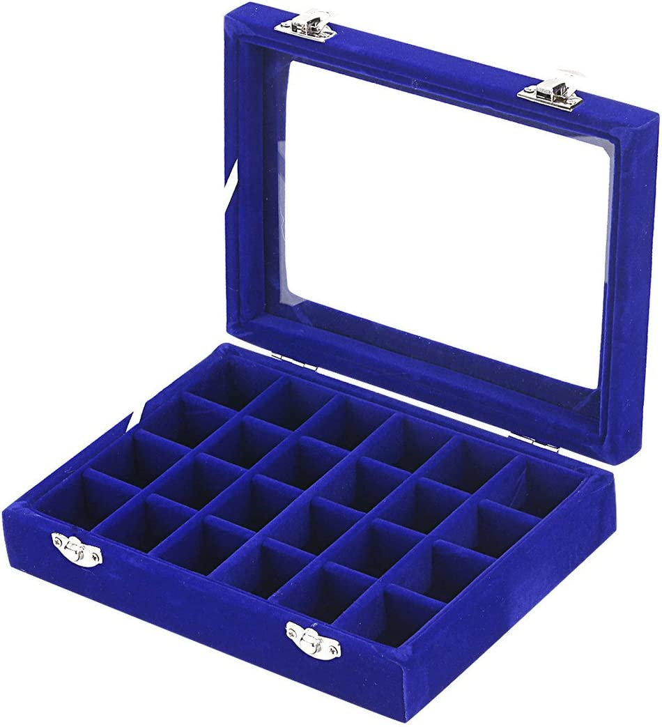 Blue Ivosmart 24 Section Velvet Glass Jewelry Ring Display Organiser Box Tray Holder Earrings Storage Case