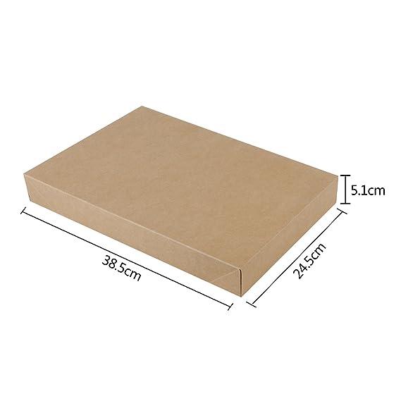 RUSPEPA 38.5 X 24.5 X 5.1Cm Camisa Caja De Regalo De Cartón Con Tapas, Cajas De Regalo Decorativas A Granel Para La Ropa, 10 Paquete Completo (Brown Kraft): ...