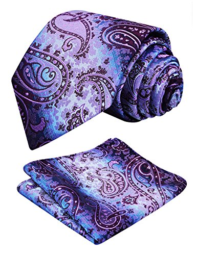 Necktie with Floral Hanky Alizeal Set Purple2 Mens Tie Paisley x1ggwO