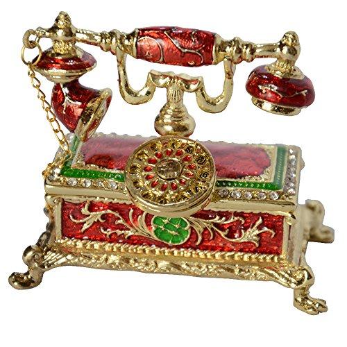 Jiaheyou Antique Telephone Jewelry Box Home Decoration Telephone Trinket Box Enameled Pewter Box