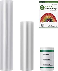 """Hemoton Vacuum Sealer Bags, 2 Rolls 8"""" and 11"""" Multipack with 1 Roll of Label, BPA-Free Food Storage Bags Commercial Grade Bag Rolls for Food Saver"""